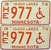 1974 Minnesota Disabled pair # 977