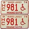1974 Minnesota Disabled pair # 981