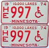 1974 Minnesota Disabled pair # 997