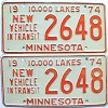 1974 Minnesota New Vehicle In Transit pair # 2648