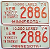 1974 Minnesota New Vehicle In Transit pair # 2886