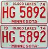 Bulk Lot of 5 pairs 1974 Minnesota automobile