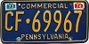 1974 PENNSYLVANIA Commercial license plate # CF-69967