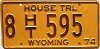 1974 Wyoming House Trailer license plate # 8-595