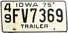 1975 Iowa Trailer #FV7369, Jackson County