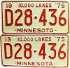 1975 Minnesota Dealer pair # D28-436