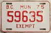 1975 British Columbia Municipal Exempt # 59635