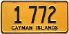1975 CAYMAN ISLANDS low number plate # 1 772