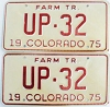 1975 Colorado Farm Tractor pair low # UP-32, Fremont County