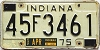 1975 INDIANA license plate # 45F3461