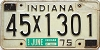 1975 INDIANA license plate # 45X1301