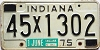 1975 INDIANA license plate # 45x1302