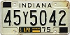 1975 INDIANA license plate # 45Y5042