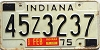 1975 INDIANA license plate # 45Z3237