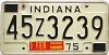 1975 INDIANA license plate # 45Z3239