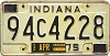 1975 INDIANA license plate # 94C4248