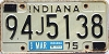 1975 INDIANA license plate # 94J5138