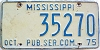 1975 MISSISSIPPI Public Service Commission license plate # 35270