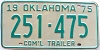 1975 OKLAHOMA Commercial Trailer license plate # 251-475