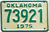 1975 OKLAHOMA Motorcycle license plate # 73921