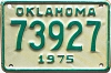 1975 OKLAHOMA MOTORCYCLE license plate # 73927