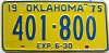 1975 OKLAHOMA HALF YEAR TRUCK license plate # 401-800
