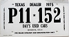 1975 Texas Dealer Temporary Tag # P11-152