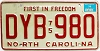 1976 North Carolina First In Freedom # DYB-980
