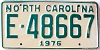 1976 North Carolina # E-48667