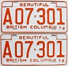 1976 British Columbia Farm Truck pair # A07-301