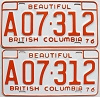 1976 British Columbia Farm Truck pair # A07-312