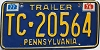 1977 PENNSYLVANIA TRAILER license plate # TC-20564