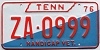 1976 TENNESSEE Handicapped VET license plate # ZA-0999