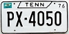 1976 TENNESSEE license plate # PX-4050