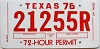1976 TEXAS 72 Hour Permit Temp Tag # 21255R
