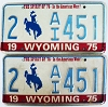 1975 WYOMING Bicentennial graphic license plates pair # 2-AI451