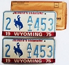 1975 WYOMING Bicentennial graphic license plates pair # 2-AI453