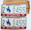 1975 WYOMING Bicentennial graphic license plates pair # 2-AI455