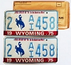 1975 WYOMING Bicentennial graphic license plates pair # 2-AI458