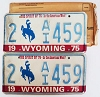 1975 WYOMING Bicentennial graphic license plates pair # 2-AI459