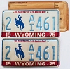 1975 WYOMING Bicentennial graphic license plates pair # 2-AI461
