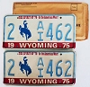 1975 WYOMING Bicentennial graphic license plates pair # 2-AI462