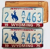 1975 WYOMING Bicentennial graphic license plates pair # 2-AI463