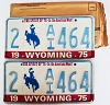 1975 WYOMING Bicentennial graphic license plates pair # 2-AI464