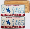 1975 WYOMING Bicentennial graphic license plates pair # 2-AI465