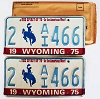 1975 WYOMING Bicentennial graphic license plates pair # 2-AI466