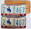 1975 WYOMING Bicentennial graphic license plates pair # 2-AI467