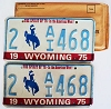 1975 WYOMING Bicentennial graphic license plates pair # 2-AI468