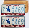 1975 WYOMING Bicentennial graphic license plates pair # 2-AI469