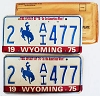 1975 WYOMING Bicentennial graphic license plates pair # 2-AI477